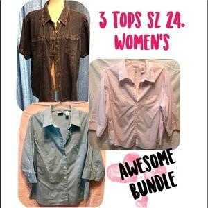 Tops - 💙best bundle price💙 three ladies tops all Sz 24